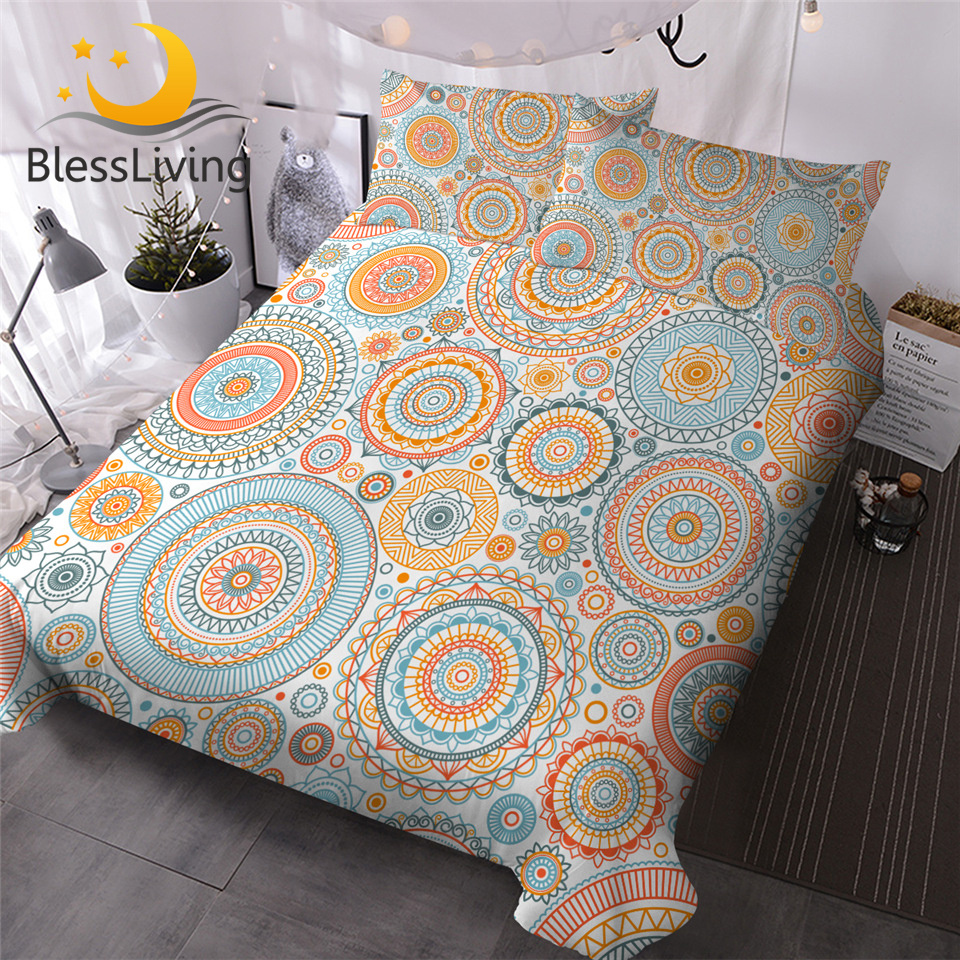 BlessLiving Boho Bedding Set Bohemian Quilt Cover Abstract Eastern Mandala Bedclothes 3 Pcs Floral Bed Cover Set Parrure De Lit