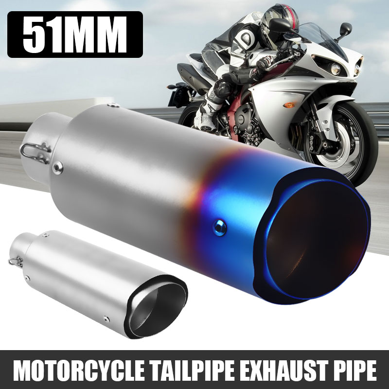 Motorcycle Exhaust Motor Pipe Loudly Moto Exhaust Change Voice Refit 51mm Stainless Steel Stable