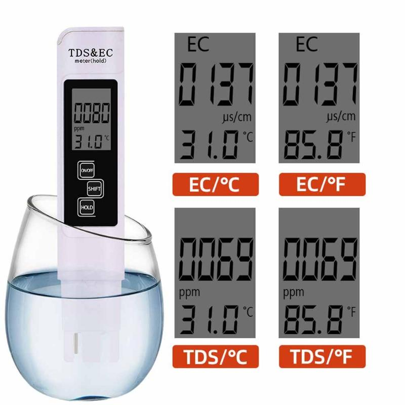 3 In 1 TDS EC Meter Temperature Digital LCD Water Testing Pen Purity Filter With 4 Different Modes Water Level Tester