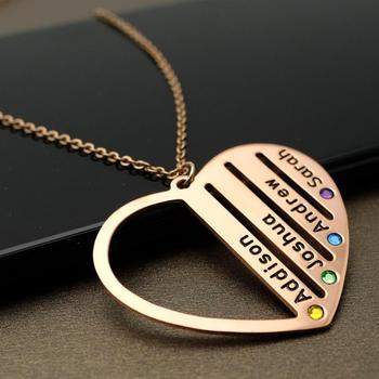 Personalized Family Name Necklace Gift for Mom Grandma Birthstone Nameplate Jewelry Heart Engraved Name Pendant sideway customised double nameplate necklace personalized two name pendants jewelry family name bar necklace christmas gift