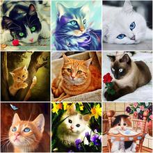 Diy cat 5d diamond painting full square/round drill animal embroidery