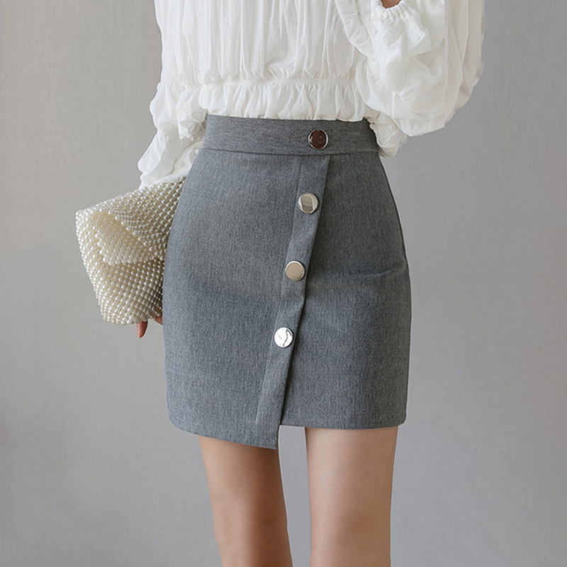 Casual Pencil Female Skirts Solid Above Knee Button Ladies High Waist Skirts Fashion Women Elegant Summer Elasitc Office Skirts image