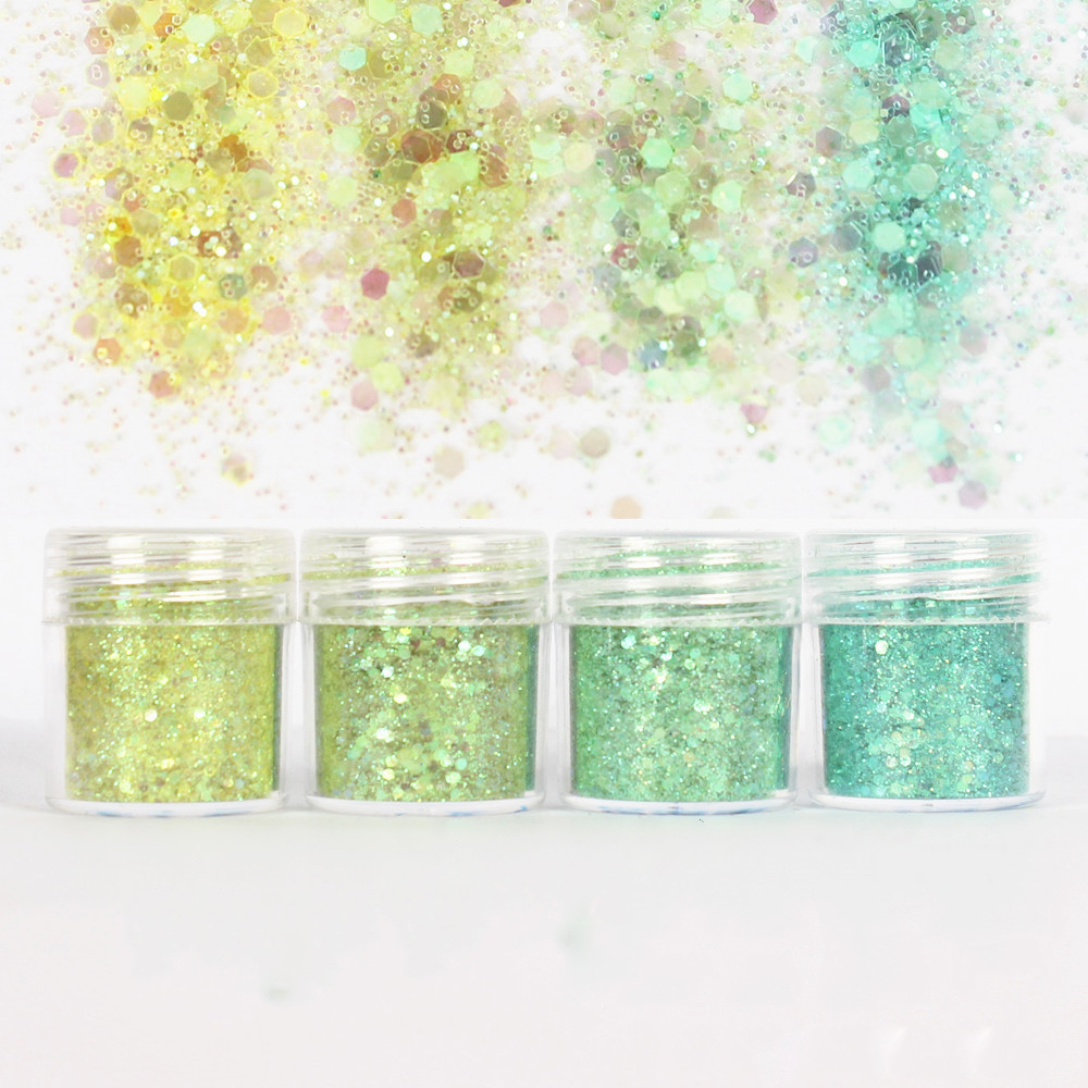 4 macetas Bling hexágono 1mm Glitter mezcla UV resina molde Material de relleno para Diy resina artesanía joyería herramientas silicona molde pigmento