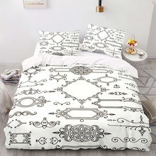 Duvet-Cover-Set Size-Bedding King White with Pillowcase 220230 Arrow-Pattern American-Style