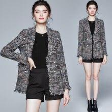 Zuoman женский осенне зимний элегантный пиджак пальто женская