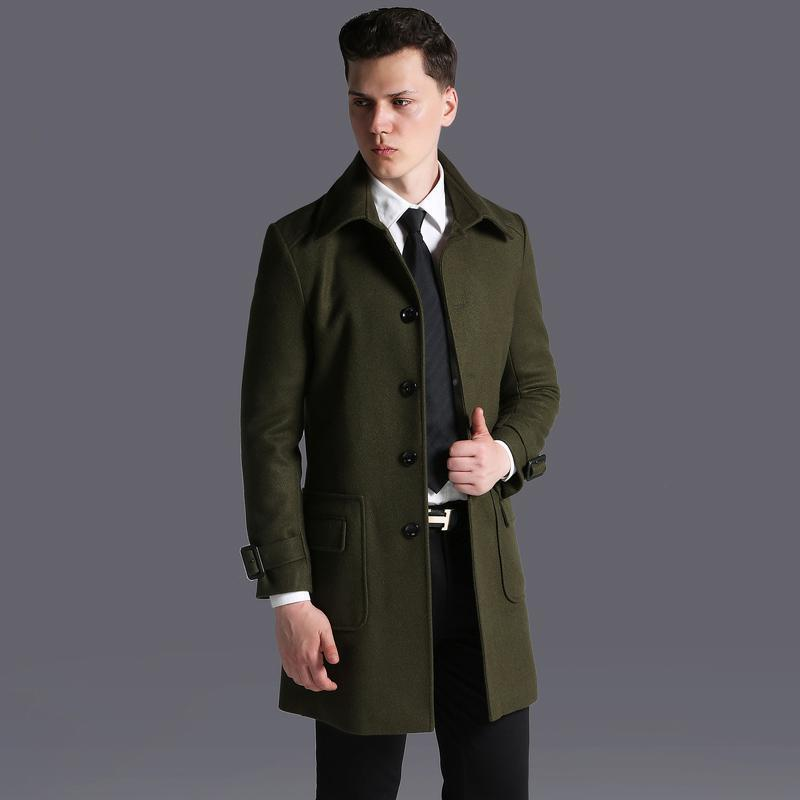 Wool Jacket Luxury Single Breasted Army Green Mens Long Coat Plus Size 5XL 6XL British Style Solid Trench Men