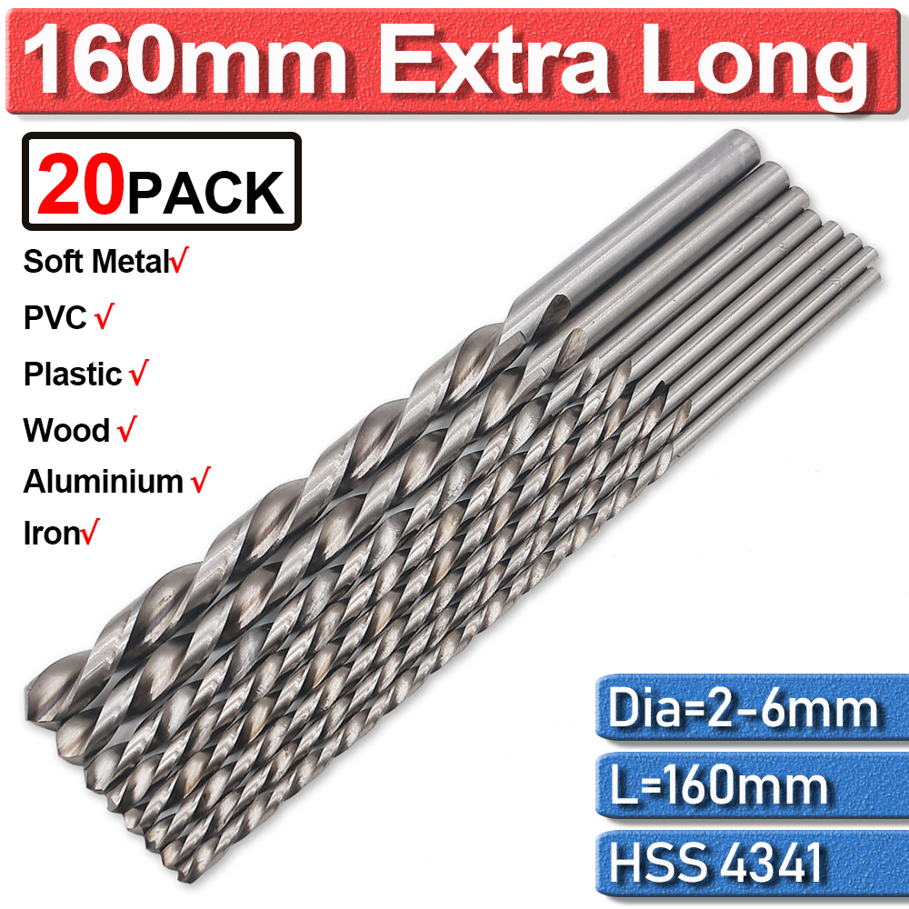 20Pc Twist Drill Bits Cobalt 2/3/4/5/6Mm Extra Long Drill Bit For Metal Drilling High Speed Steel Hss 160Mm Drill Bits Guide Set