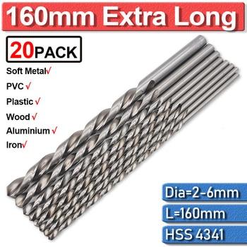 20Pc Twist Drill Bits Cobalt 2/3/4/5/6Mm Extra Long Drill Bit For Metal Drilling High Speed Steel Hss 160Mm Drill Bits Guide Set 4x hss self centering hinge drill bits set door cabinet 5 64 7 64 9 64 11 64