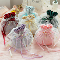 100pc Luxury Packing Drawstring Velvet Pouch Sachet Gift Bag For Jewelry Wedding Candy Boxes With Pearl String Decor Favors Bags
