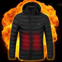 Plus Size Men Winter Jacket Duck Down Coat Heated Jackets Down Outdoor Coat USB Electric Heating Hooded Jackets Winter Windproof
