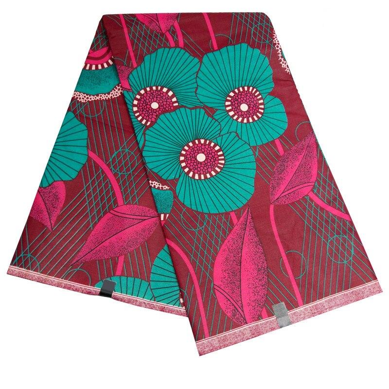 Ankara African Wax Veritable Real Dutch Wax Fabric Flowers Green Flower Red Leaf Printing African Fabric