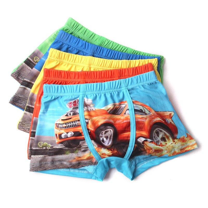 5 Pieces Disney Kids Underpants 95% Cotton Boys Flat-angle UnderPants Boxer Cartoon Panties 3 to 10 Yrs Underwear For Children