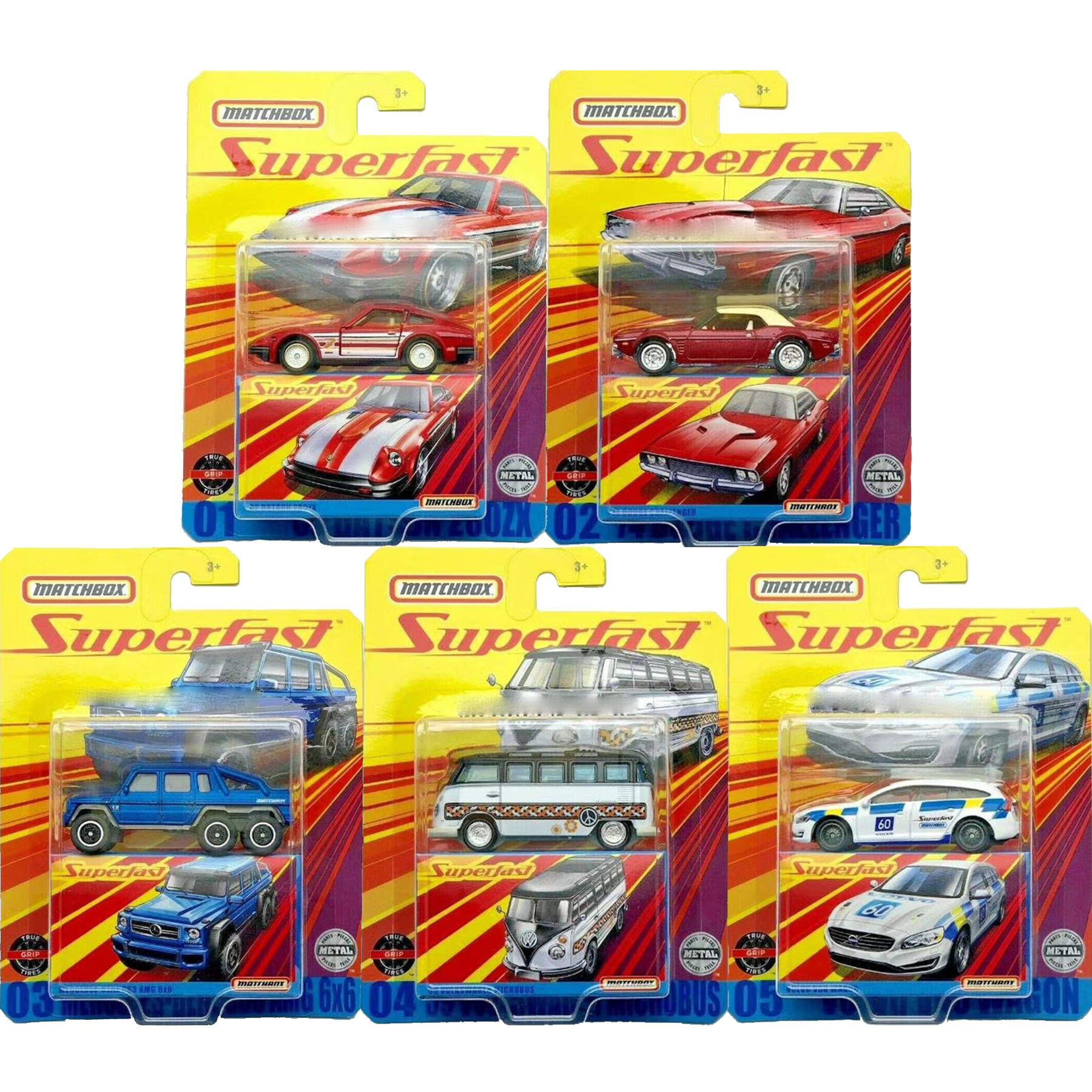 2020 Match Box 1:64 Car Superfast VOLKSWAGEN MICROBUS  VOLVO V60 WAGON Metal Diecast Model Car