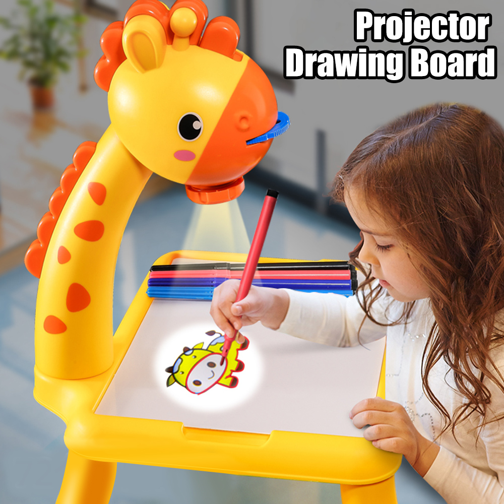 Children LED Projector Drawing Board Kids Painting Table Desk Montessori Educational Learning Writing Tablet For Boy Girl Toys