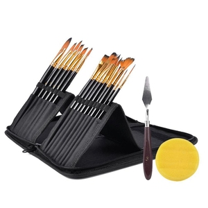 Image 3 - 15Pcs Artist Paint Brush Set Nylon Art Paint Brushes with Case for Gouache, Acrylics, Oil and Watercolor