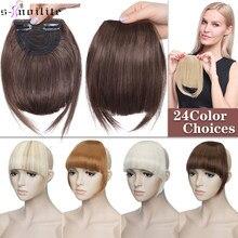 S-noilite – extensions de cheveux synthétiques, frange courte devant soignée 8 pouces avec Clip, frange lisse naturelle, extension capillaire pour femmes