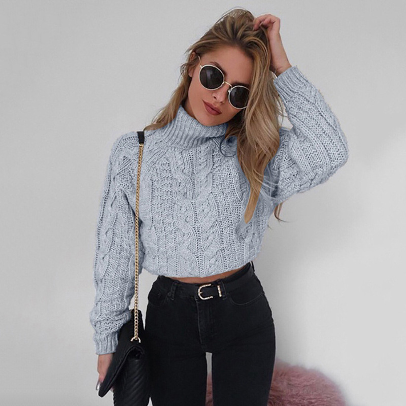 Turtleneck Sweater Twist Crop Knitted Oversized Sweater Women Pullovers Winter Jumper Knitwear Pull Femme Solid Casual Sweater