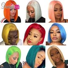 150% красочный 613 блондинка Синтетические волосы на кружеве человеческие волосы парик бразильский розового/серого цветов с короткими Боба парик 13x6 прозрачные кружевные парики для чернокожей женщины