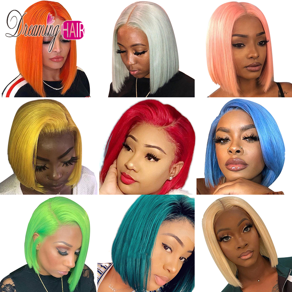 Lace Wigs Short Blonde Human-Hair Transparent Grey Pink Black Colorful 13x6 Woman Brazilian title=