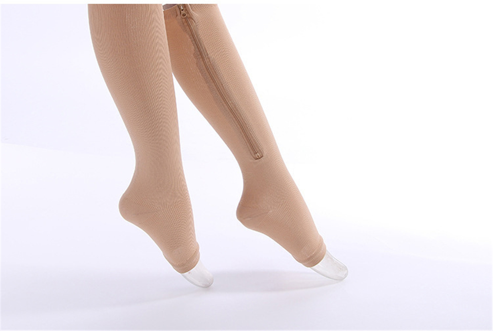 New Zipper Compression Socks Female Models Open Toe Thin Section Elastic High Tube Sports Socks Droppingship