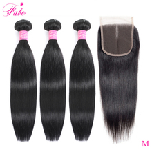 Fabc Hair Brazilian Straight Hair Bundles With Closure Pre Plucked 3/4 Bundles Natural Black Non remy Human Hair Free Shipping