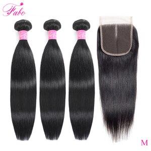 Image 1 - Fabc cabelo brasileiro feixes de cabelo em linha reta com fechamento pré arrancadas 3/4 pacotes preto natural não remy cabelo humano frete grátis
