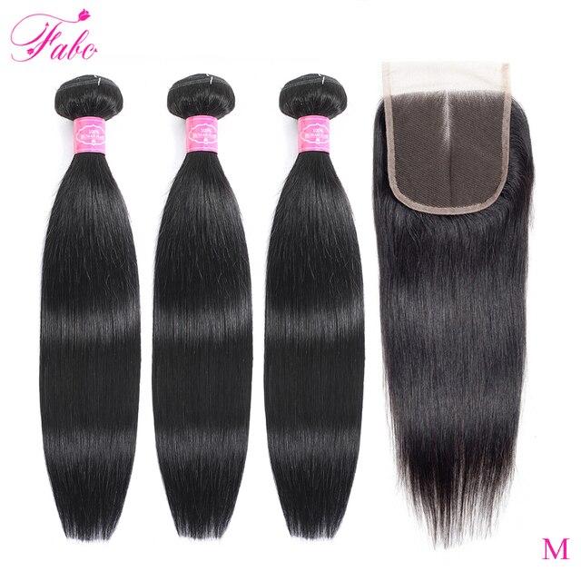 Fabc cabelo brasileiro feixes de cabelo em linha reta com fechamento pré arrancadas 3/4 pacotes preto natural não remy cabelo humano frete grátis