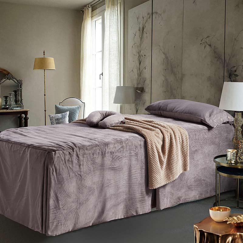 Couverture de lit de beauté Pure quatre ensembles de mode Simple atmosphère Style vin rouge doux respirant couverture couverture de couette de couleur unie - 4