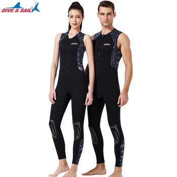 DIVE&SAIL 1.5MM Neoprene Jumpsuit One Piece Scuba Diving Suit Underwater Hunting Wetsuit Men Women Front Zip Swimming Swimsuits