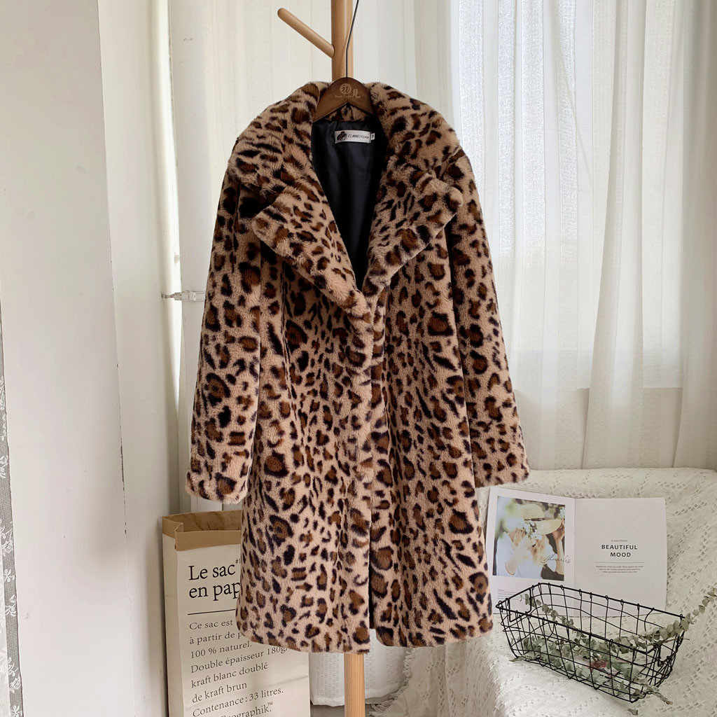 Women Faux Fur Coat Leopard Print Medium Winter Warm Long Teddy Coat Turn-down Collar Oversize Coats Outerwear Teddy Jacket 2019