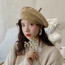 Corduroy Autumn Beret Hats Women Girls Artist Painter Hat Winter Wool Octagonal cap Female Hip Hop caps Solid Color