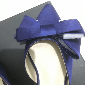 2018 spring and summer women's shoes Korean silk satin Pointed bow tie slippers Baotou flat heel sets semi slippers - Blue(high 1.5cm), 41