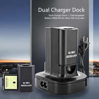 Dual Charger Dock Station With 2Pcs 4800Mah Rechargeable Battery Led Charging Light For Xbox 360 Controller Eu Plug