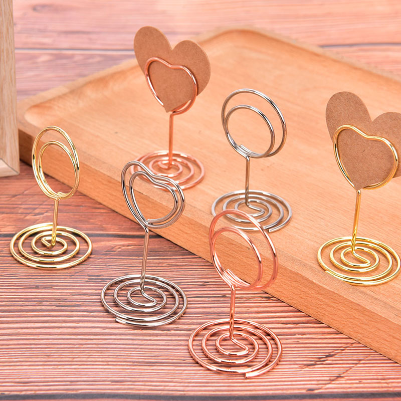 Wedding Heart Photo Clip Table Number Stand Desktop Deco Metal Place Card Holder