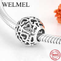 Hot 925 Sterling Silver charming Hollow Out Hearts fine beads Fit Original Pandora Charm Bracelet Jewelry making