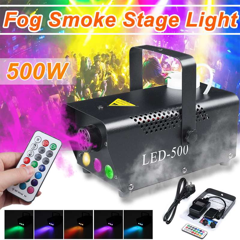 500W Disco Colorful Smoke Machine Mini LED Remote Fogger Eector DJ Christmas Party Stage Light Fog Machine  With Remote Control