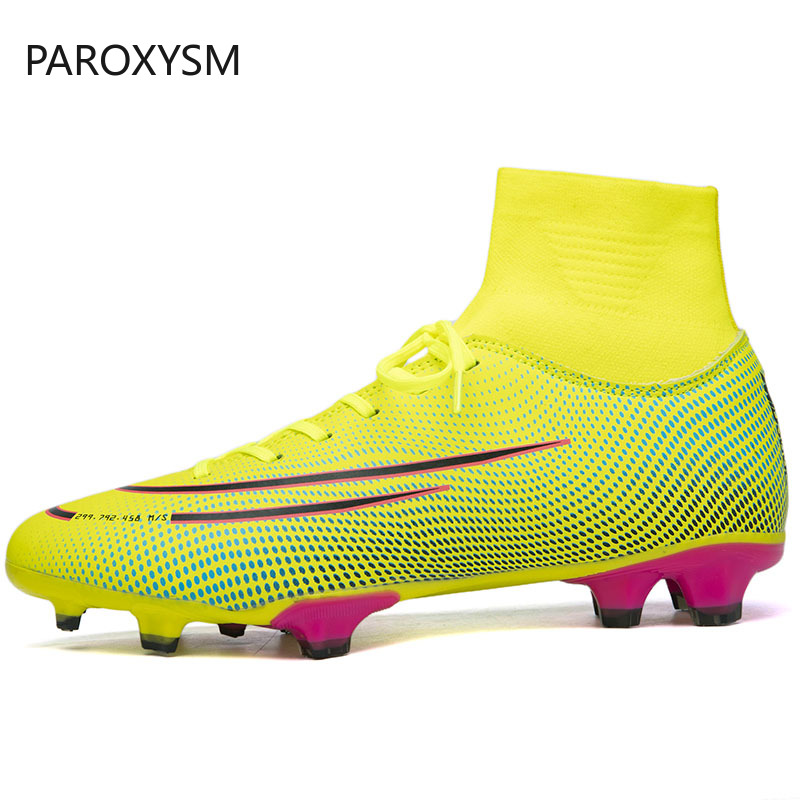 PAROXYSM New Adults Men's Outdoor Soccer Cleats Shoes High Top TF/FG Football Boots Training Sports Sneakers Shoes Plus Size|Soccer Shoes| |  - title=