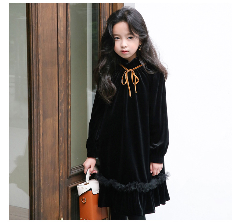 Teenage Kids Girls Winter Dress Fleece 2019 New Baby Girl Autumn Dress Black Kids Casual Dress Girl Children Top Toddler Dresses (10)