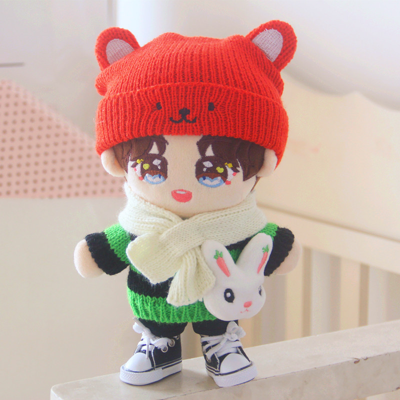 Orange Bear Hat Striped Sweater Dress Pants 20cm Suit Doll Exo Doll Clothes Doll Accessories
