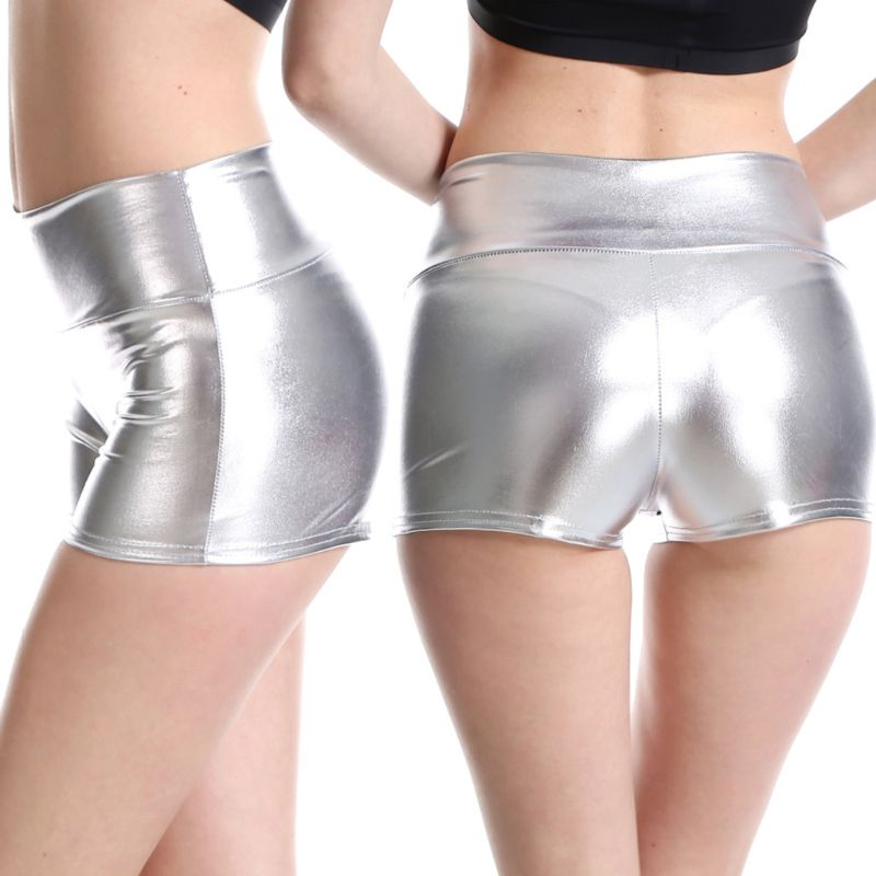 1PC Womens Mid Rise Metallic Mini Booty Shorts Solid Color Faux Leather Hot Pants Rave Dance Party Pole Dancing Clothes Tops