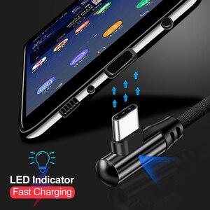 90 градусов кабель с разъемом USB Type-C 3A для быстрой зарядки и передачи данных Шнур для Samsung S10 S9 Huawei Mate 20 мобильный телефон USBC Светодиодная лампа для быстрой Кабель зарядного устройства