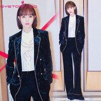 Women Velvet Two Pieces Pant Set Double Breasted Notched Short Velvet Blazer +Flare Pant Suit Office Business Outfit Uniform