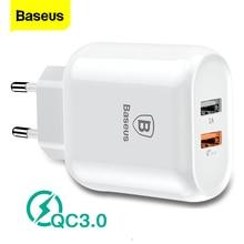 Baseusโทรศัพท์Charger Quick Charge 3.0 Dual USBสำหรับiPhone X 8 Universal 5V/3A Travel Wall USBสำหรับSamsung Xiaomi EU Plug