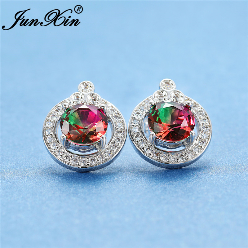 Gradient Colorful Red Green Stone Earring White Gold Rose Gold Mystic Rainbow Fire Crystal Round Stud Earrings For Women Jewelry