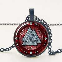 Ancient Times Mysterious Pattern Pendant Necklace Glass Necklace Necklace Sweater Chain