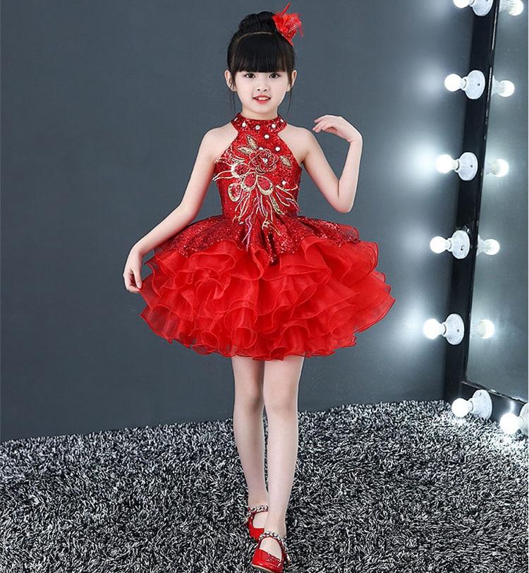 Короткие пышные красивые платья с оборками для маленьких девочек недорогой танцевальный костюм лавандового, красного, желтого цвета платье с блестками для маленьких девочек - Цвет: Красный