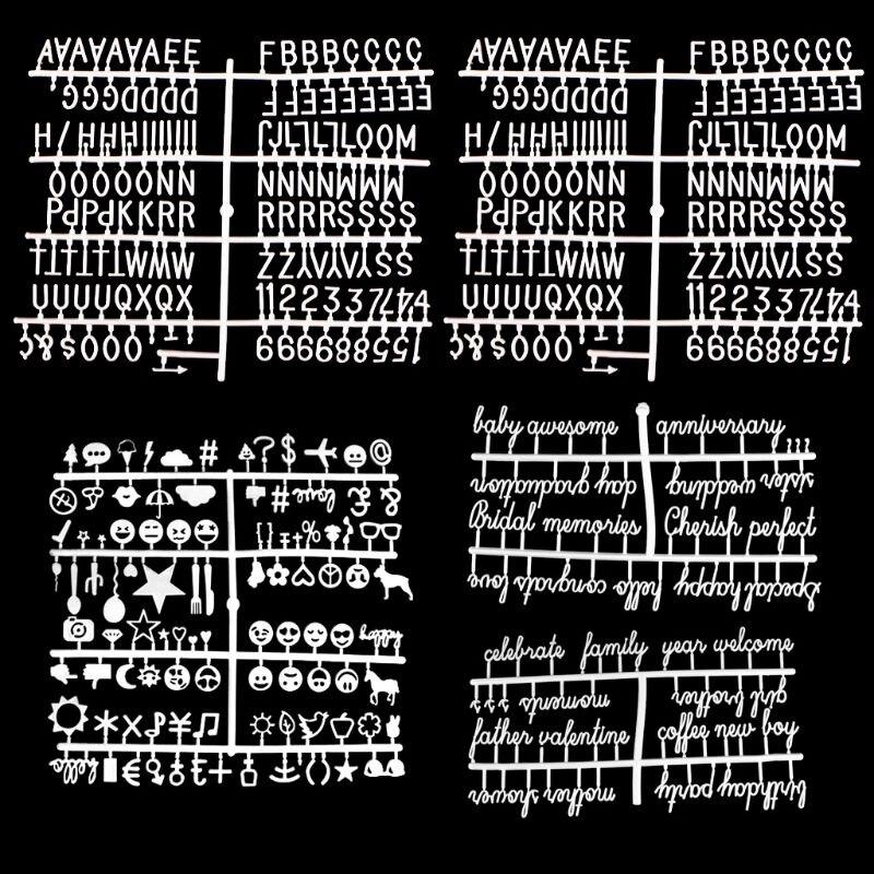 5Pcs/Set Board Letters Numbers Exchangeable Felt Alphabet Symbols Retro Color White