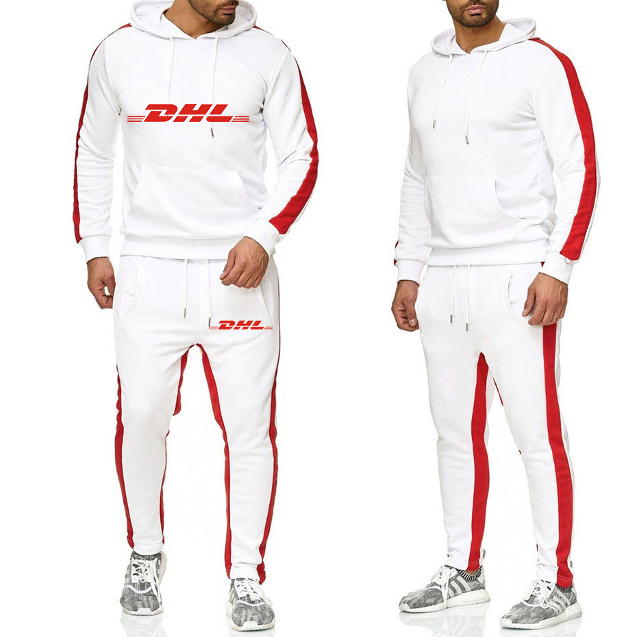 2019 Autumn Brand DHL Men Sweatshirt Set Casual Running Track Suit Men Two Piece Sportswear Set Patchwork Hoody Pants Sweatshirt