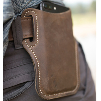 Men Cellphone Loop Holster Case Belt Waist Bag Props Leather Purse Phone Wallet Outdoor Tools For Camping Hiking image