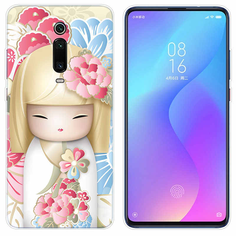 Mewah Lembut Silicone Case Kawaii Kokeshi Jepang Boneka untuk Xiaomi Redmi 7 7A Pergi S2 4X5 5Plus 6 6A K20 Note 4 5A 6 7 8 Pro Cover